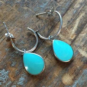 Sterling silver & turquoise drop earrings